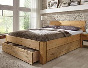 stilbetten bett holzbetten massivholzbett tarija mit stauraum eiche ge lt 180x200 cm amazon. Black Bedroom Furniture Sets. Home Design Ideas