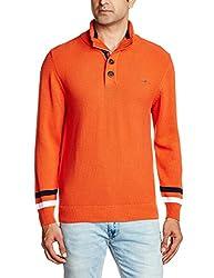 Wrangler Men's Cotton Sweater (8907222259709_WRSW2214_Small_Orange)
