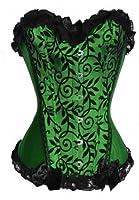 Dissa Sexy Hem Lace Bowknot Décor Corset,Green