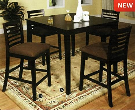 Eaton 5-Piece Espresso Finish Counter Height Dining Set