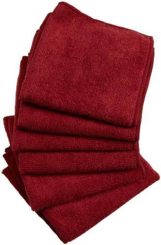 DII Kitchen Millennium Excello Microfiber Kitchen Cloth, Spice Red, Set of 6
