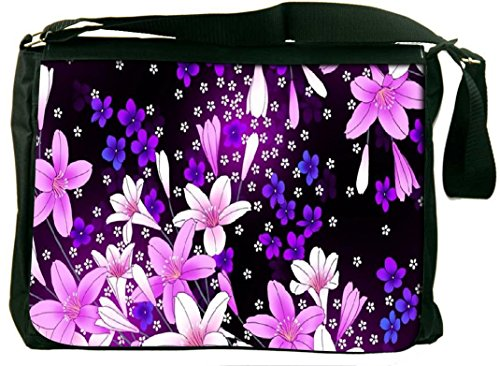 Snoogg Snoogg Purple Flowers Computer Padded Compartment Carrying Case Laptop Notebook Shoulder Messenger Bag (Multicolor)