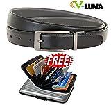 V-Luma Men Casual Black Genuine Leather Reversible Belt with Free Card Holder