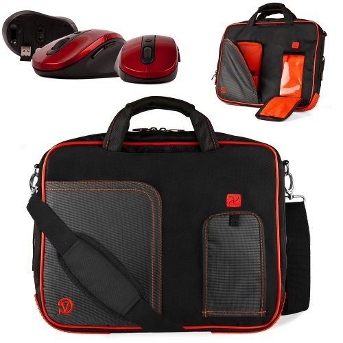 Uniquely Designed Vangoddy Red Ultra Durable Reinforced 17 Inch Pindar Sports Bag For All Models Of The Gateway Nv Series 17 Ultrabook!!! + Device Compatible Wireless Mouse.
