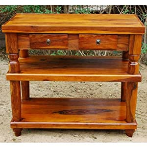 Rustic Wood 2 Storage Drawers Entry Console