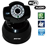 BESTEK (easy installation,resolution:300K) Wi-Fi wireless/wired pan&tilt ip/network webcam camera with two way audio,night vison,infrared motion detection alarm,video,recording for mac,laptop,skype,tablet ect. BTWC541
