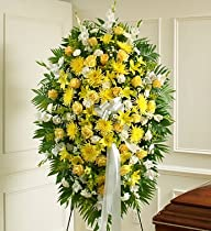 1-800-Flowers – Deepest Sympathies Yellow Standing Spray – Large