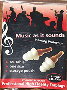 Etymotic Research ER20 ETY-Plugs Hearing Protection Earplugs, Standard Fit, Clear Stem with Frost Tip