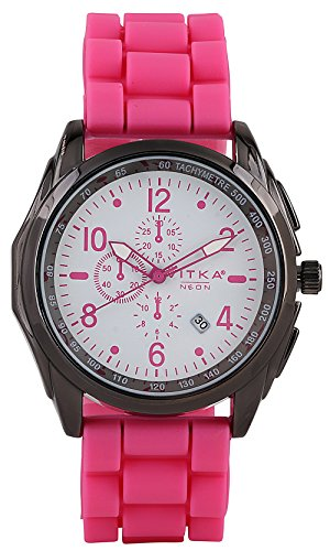 Holiday Gifts Special Vitka Neon Hot Pink Soft Silicone Rubber Gel Watch Ceramic Style Link Look Watch With Cute Gift Box That Converts To Money Box For Easy Gift Giving.