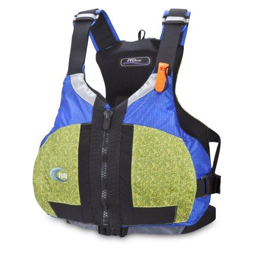 MTI Adventurewear Women's PFDiva PFD Life Jacket with Adjust a Bust System, Fractal Green/Blue Ripstop, Large/X Large