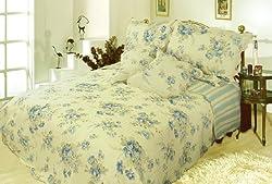 DaDa Bedding DXJ101491 Camellia 5-Piece Quilt Set, California King, Floral