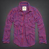 Hollister Co. ホリスター メンズ フランネルシャツ 長袖シャツ ネルシャツ [レッドxブルー/チェック] 並行輸入品 L/XLサイズ