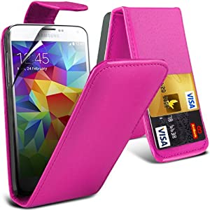 (Pink) Samsung Galaxy S5 Custom Designed Stilvolle Accessoires zur Auswahl Schutzmaßnahmen Kunst Credit / Debit-Karten-Leder Flip Case Hülle & LCD-Display Schutzfolie von Hülle Spyrox