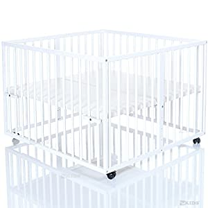 Wooden Baby Playpen 100x100 cm Niklas white - base covered with PVC foil and height adjustable - 4 wheels from LCP Kids