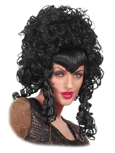 Curly Long Black Wig Big Hair Mess Poofy Widows Peak Womens Theatrical Costume