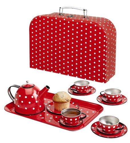Polka Dot Miniature Tin Tea Set, 15 Pieces