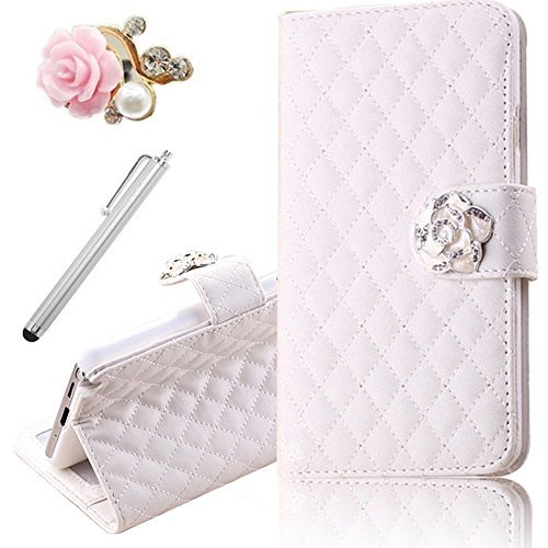 Vandot 3In1 Set 3D Lusso Accessori Flip Folio Pelle PU Book Wallet Cuoio Custodia Case Cover Indietro Shell Skin Per Caso Astuto Telefono Samsung Galaxy S5 mini SM-G800 G800F Bella Premium Quality Borsa Bag Copertura Rhinestone Bling Shinning Crystal Strass Sacchetto Caso Dell'unitÀ Di Elaborazione Smartphone Scintillio Falso Artificial Leather Diamante Protection Protector Protettiva Magnetico Closure Chiusura Cristallo Diamand Cassa Mobile Signora Fashion Glittering Modern Girl Stile Style Design+1x Metallo Tocco Penna Stylus Touch Screen Capacitivo Stilo+1x 3,5 mm Anti Spina Polvere Anti Dust Plug Anti-Dust Strass Tappi Polvere Earphone Jack Headphones Headset - Chiaro Multi-Function Lattice Grid Quilted padding Fiore Credit Card Slots Supporto Basamento Stand Holder Ciondolo Per Cellulare Portafoglio Cuoio Donna Handmade Fatto a Fano- Colorful (Bianco)