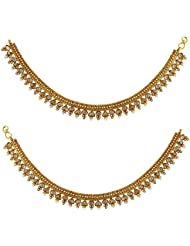 Acsentials Antique Gold Plated Kundan Anklet
