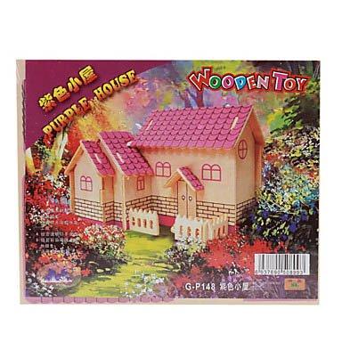 Intellectual Development Diy 3D Wooden Puzzle Set - Purple House front-449255