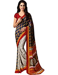 AG Lifestyle Women's Silk Saree(SD120, Off White & Brown)