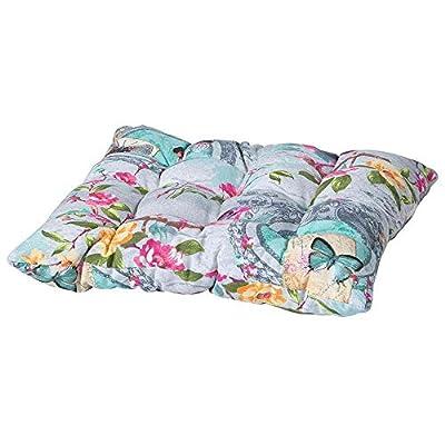 Madison 7PIL7-C346 Bistro Sitzkissen Sissy, 46 x 46 cm, Baumwolle / Polyester, Blumendesign, grau von Madison - Gartenmöbel von Du und Dein Garten