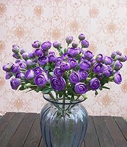 Bridal Wedding Bouquet Latex Silk Flower Bouquets 6pcs Purple Lot Of