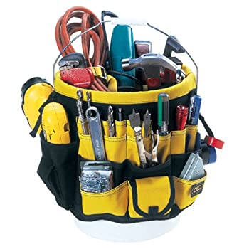 Made of durable rugged, 600D ripstop fabric. 36 triple row outside pockets, 25 double row inside pockets. Drill holder with side release buckle security strap. Designed to fit most standard 3-1/2 to 5 gallon buckets.
