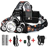 totobay LED Headlamp, {5000 Lumens Max} 4 Modes Waterproof Head Flashlight Light with 2 Rechargeable Batteries, USB Cable, Wall Charger and Car Charger for Outdoor Sports