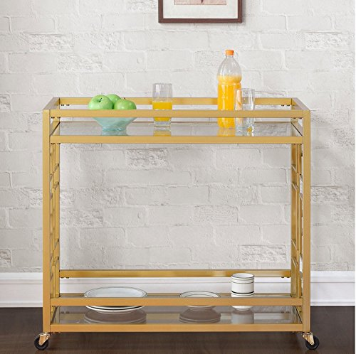 Retro Gold Tone Bar Cart Metal Serving Tray Table Coffee 2-Shelf Glass Kitchen Sofa Side Hall Entry 5