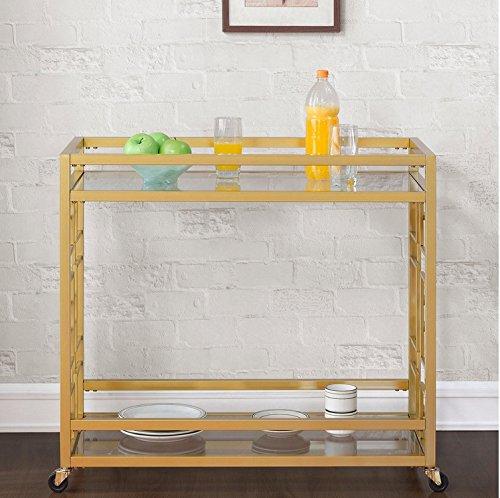 Retro Gold Tone Bar Cart Metal Serving Tray Table Coffee 2-Shelf Glass Kitchen Sofa Side Hall Entry 5