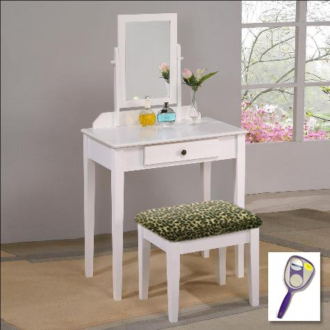 New White Finish Make Up Vanity Table with Mirror & Leopard Animal Print Themed Bench