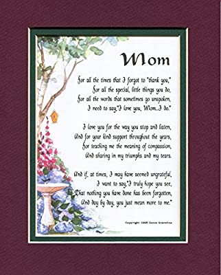 """Mom"" A Gift For A Mother. Touching 8x10 Poem, Double-matted In Burgundy over Dark Green And Enhanced With Watercolor Graphics."