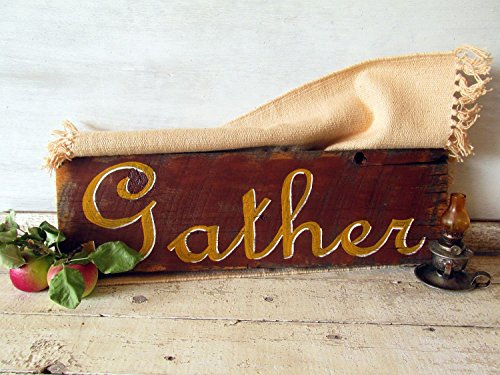 Gather Autumn Thanksgiving Quote Sign Hand painted Wooden Sign decor