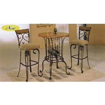 3pc wood and metal bar table set