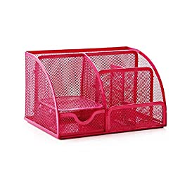 Qingsun Mesh Large Desk Multifunction Organiser Pen holder Scratch-resistant with Non-marking Rubber Pads in Red