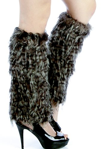 Dizanne Fashion Chic Leg Warmers - Furry Leopard faux fur boot covers Black