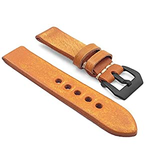 StrapsCo 22mm Tan Extra Thick Antique Vintage Leather Watch Band w/ Black Pre-V Buckle