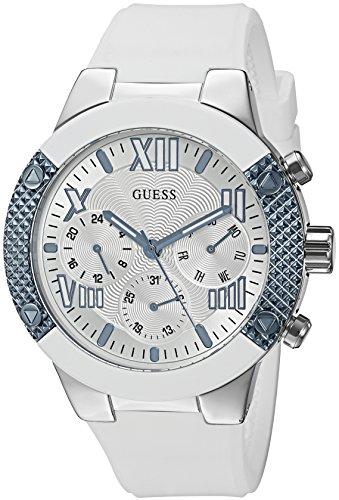Guess Mujer u0772l3deportivo multifunción reloj en cómodo Correa de silicona, color blanco