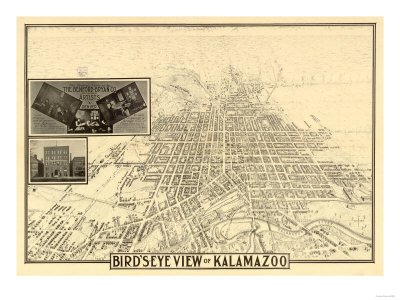 Kalamazoo, Michigan - Panoramic Map