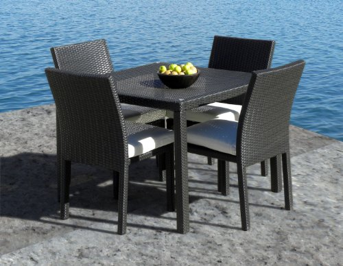 Outdoor Patio Wicker Furniture New Resin 5-Piece Square Dining Table & Chairs Set picture