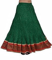 Factorywala Women's Cotton Full Length Drawstring Border Lace Work Long Skirt