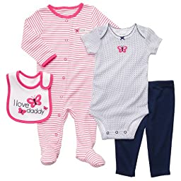 Carter\'s Baby Girls\' 4-Piece Layette Set - Navy/Pink Butterfly - 9 Months