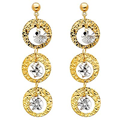 Wellingsale® Ladies 14k Two Tone White and Yellow Gold Diamond Cut Polished Fancy Dangle Hanging Drop Earrings with Pushback (40 x 10 mm)