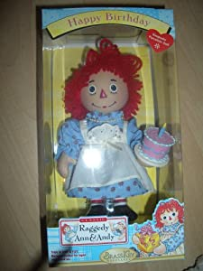 "Raggedy Ann & Andy BRASS Key Keepsake ""Happy Birthday"""