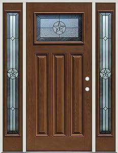 Fiberglass Front Door With Sidelites Craftsman Texas Star 30 Patina Pre Finished Oak Left