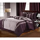 Chic Home Glendale 12-Piece Comforter Set, Queen, Plum