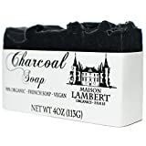 Charcoal Soap - Organic Charcoal Soap - Handmade Soap, Men Soap, Tea Tree Soap, Vegan Soap, for Acne Skin, Oily Skin. Neem Oil Soap - Neem Soap - 4 Oz
