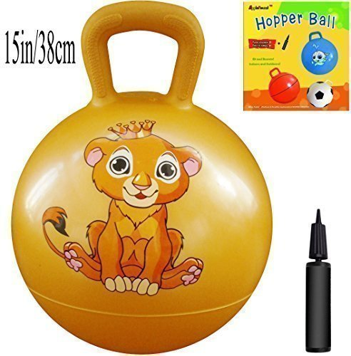 Space Hopper Ball: Yellow, 15in/38cm Diameter for Ages 3-5, Pump Included (Hop Ball, Kangaroo Bouncer, Hoppity Hop, Sit and Bounce, Jumping Ball)