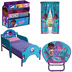 Bundle of 4: Doc Mcstuffins Mini Saucer Chair, Doc Mcstuffins Multi-bin Toy Organizer, Doc Mcstuffins Toddler Bed, Doc Mcstuffins Drapery Curtain Panel, Set of 2