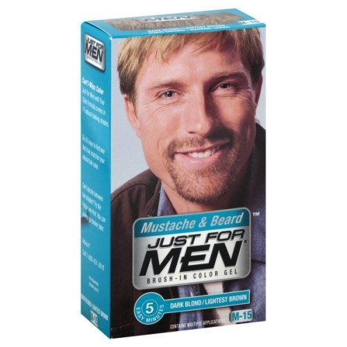 Just For Men Mustache and Beard, Brush-In Color Gel, Dark Blond/Lightest Brown (1 Box)